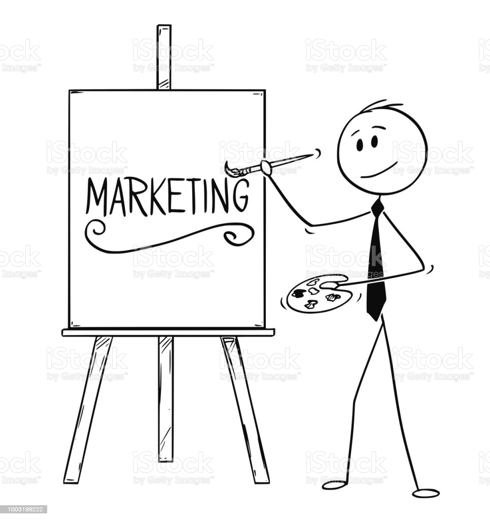 Cartoon stick man drawing conceptual illustration of businessman artist holding brush and palette and writing word marketing on canvas.